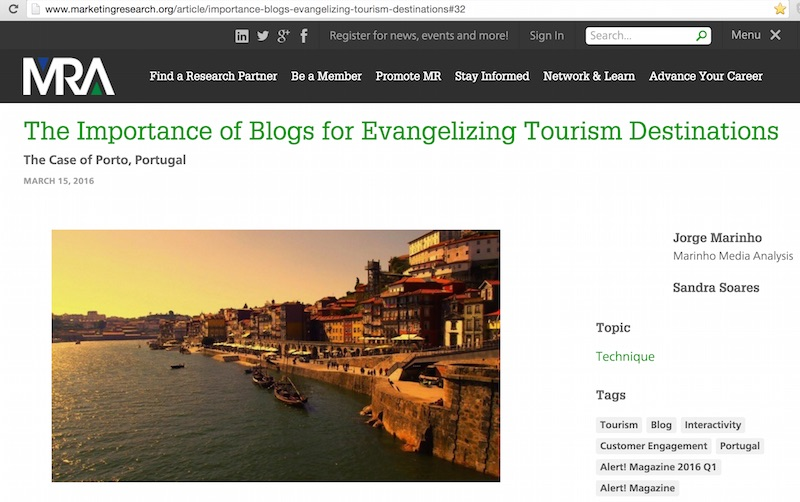 The Importance of Blogs for Evangelizing Tourism Destinations Mar2016 Porto Envolto